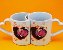 Допълващи се чаши за влюбени със снимка+ дизайн.