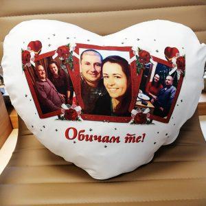 Възглавничка сърце със снимки+ дизайн.